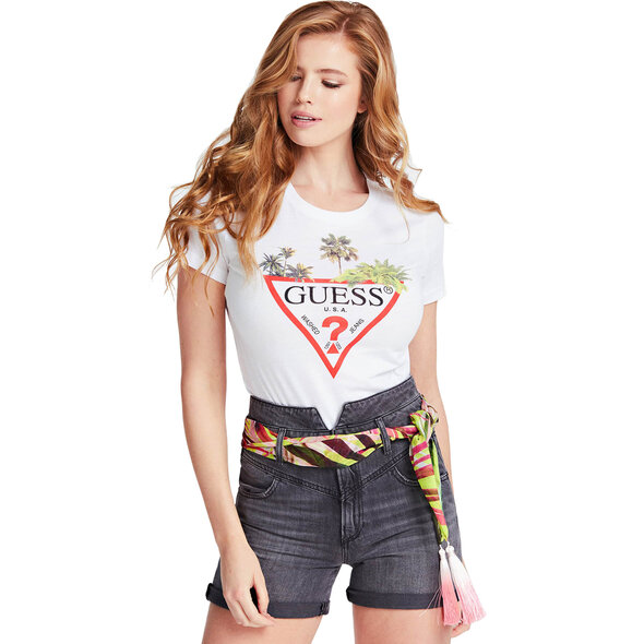 GUESS PALMS TRIANGLE LOGO T-SHIRT ΓΥΝΑΙΚEIO W0GI52JA900-TWHT
